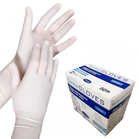 Manusi chirurgicale sterile din latex, pudrate, albe