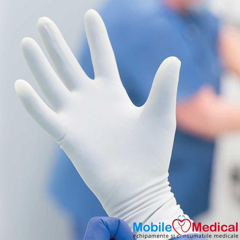 Manusi chirurgicale sterile din nitril, nepudrate, albe