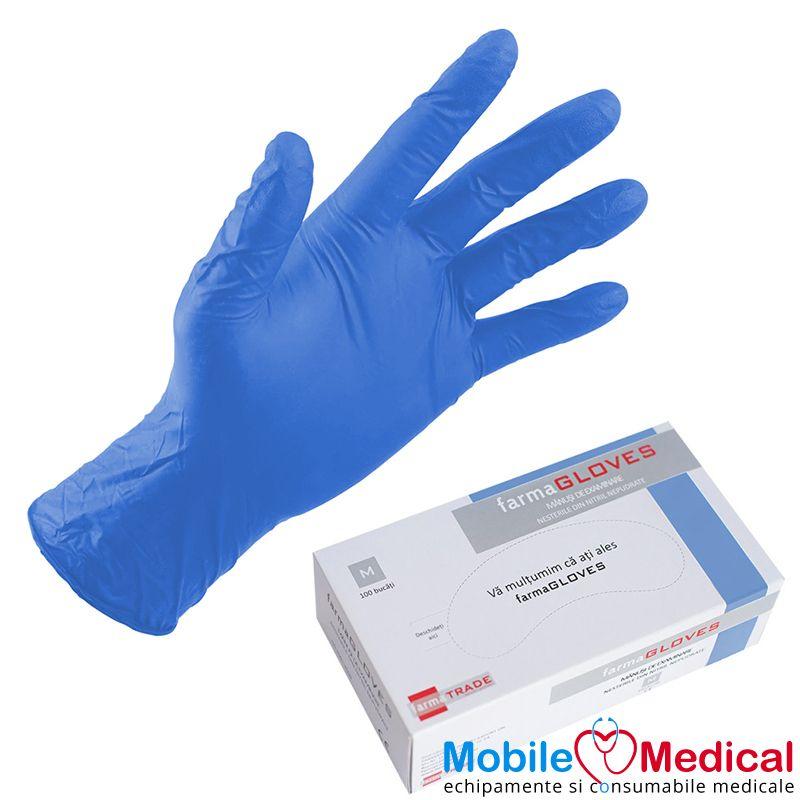 Manusi de examinare din nitril, nepudrate, albastre