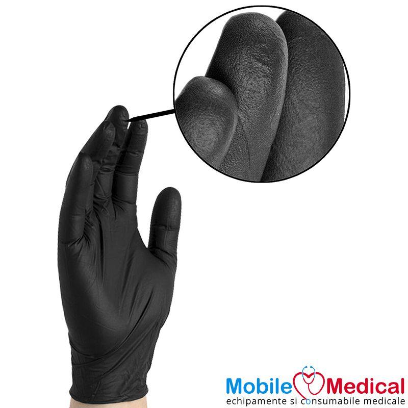 Manusi de examinare din nitril, nepudrate, negre - detaliu