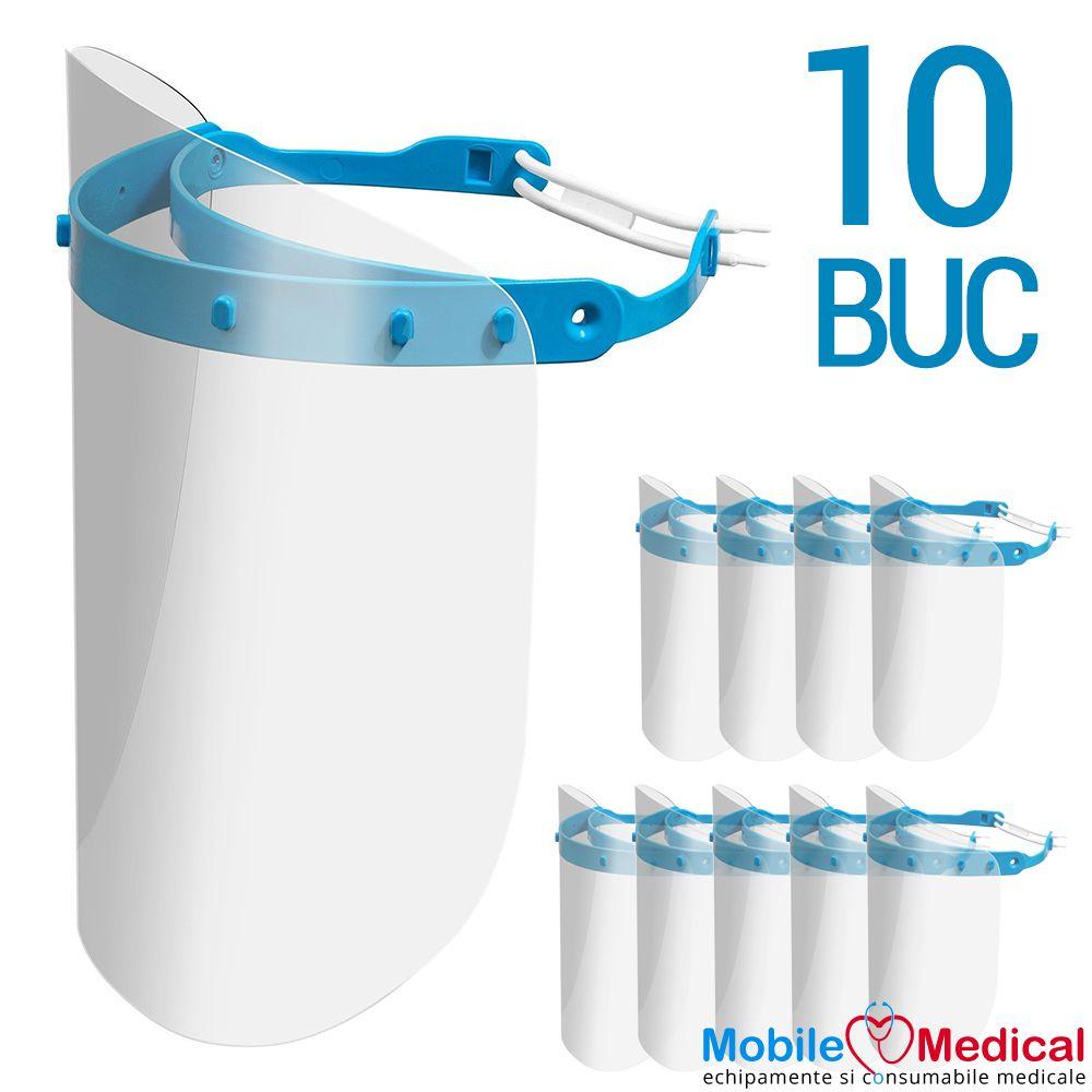Set 10 Viziere de protectie pentru fata reutilizabile, rabatabile si reglabile, uz medical si universal