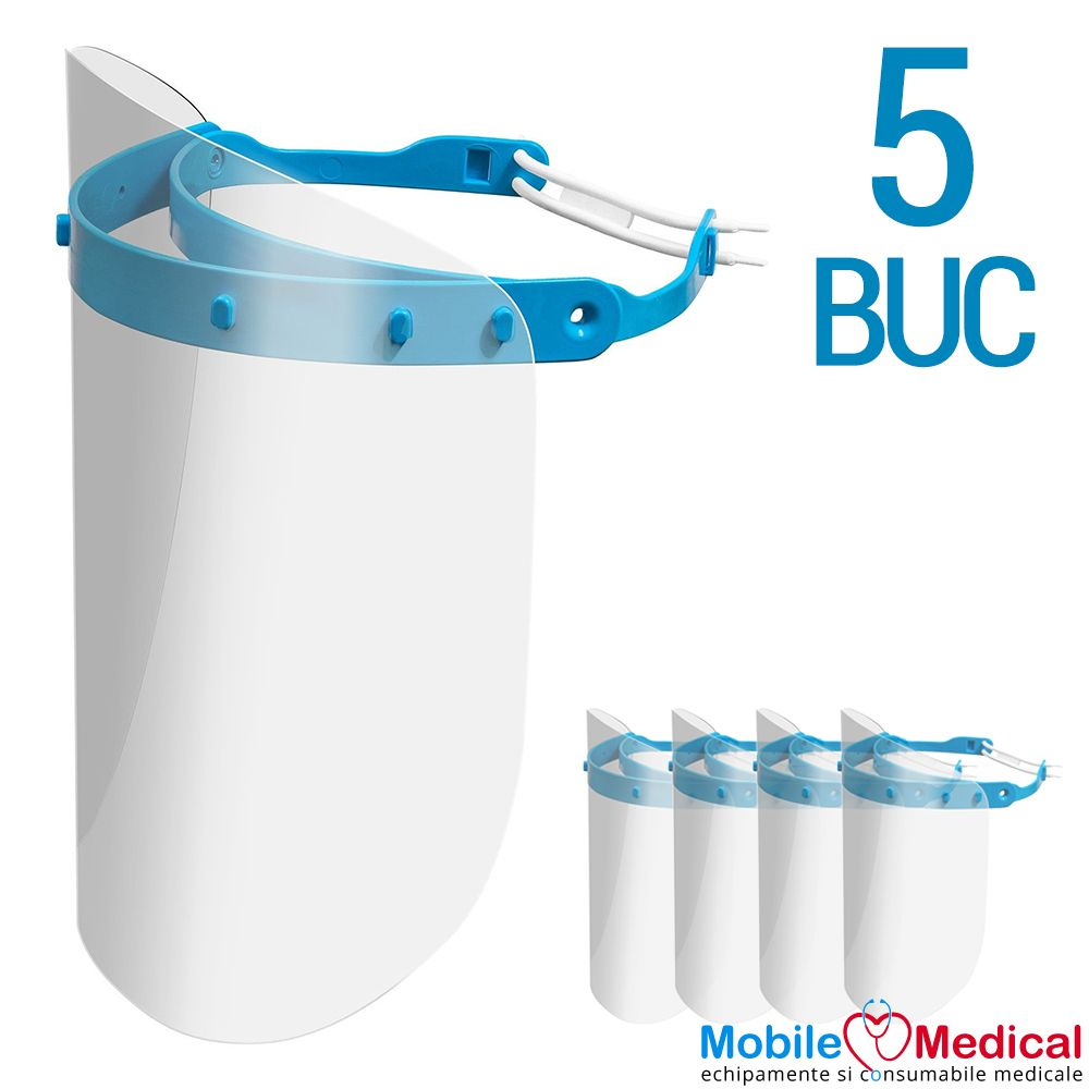 Set 5 Viziere de protectie pentru fata reutilizabile, rabatabile si reglabile, uz medical si universal